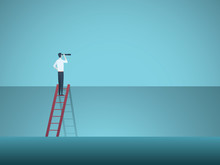 Business Leadership, Visionary, Career Vector Concept. Businessman On Corporate Ladder With Telescope. Symbol Of New Opportunities, Vision, Success, Leader.
