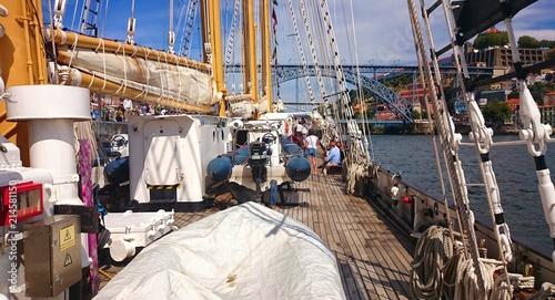 Inside sailboat in Oporto, Portugal