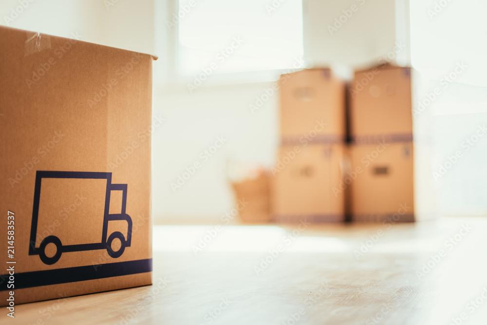Fototapety, obrazy: Neue, helle Wohnung mit Umzugskartons, viel Sonnenlicht und Holzboden