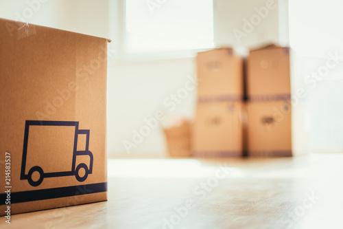 Neue, helle Wohnung mit Umzugskartons, viel Sonnenlicht und Holzboden Fototapet