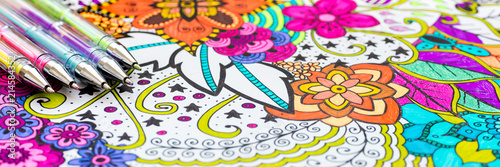 Photo Adult coloring book, new stress relieving trend