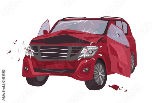 Photo Automobile damaged by collision isolated on white background