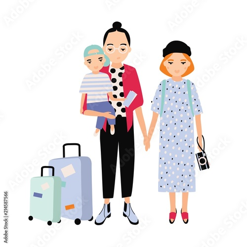 Happy Family On Trip Mother Father And Baby Son Traveling Together - Toddler-cartoon-characters