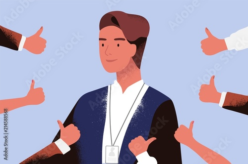 Photo Smiling businessman or office worker surrounded by hands demonstrating thumbs up