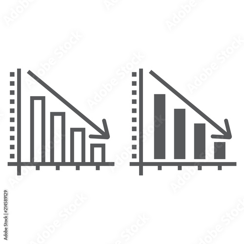 Decrease line and glyph icon, reduction and analytics, chart sign, vector graphics, a linear pattern on a white background, eps 10 Canvas Print