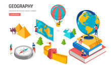 Geography Class, School, College Lesson. Isometric Design