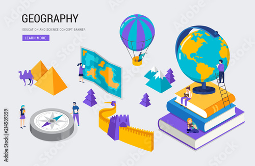 Photo Geography class, school, college lesson. Isometric design