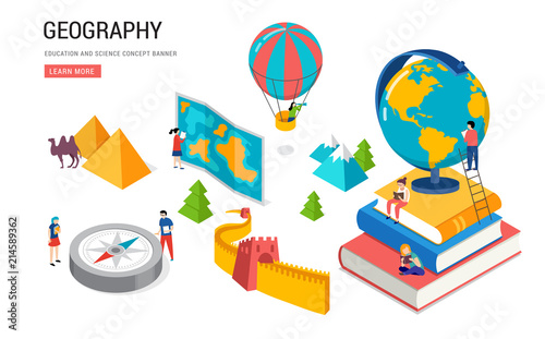 Canvas Print Geography class, school, college lesson. Isometric design