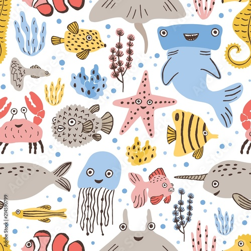 Whales Abstract Baby Ocean Animals Childish Marine Doodle Photography Backdrop Photo Backdrops Portrait Background Studio Props AM032261 ALUONI 5x3ft Underwater