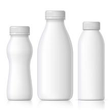 Realistic Plastic Bottle For Milk, Yogurt Or Kefir.
