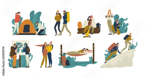 Obraz Collection of young romantic couples during hiking adventure travel or camping trip. Men and women pitching tent, lying in hammock, climbing mountain, backpacking. Flat colorful vector illustration. - fototapety do salonu