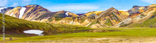 Photo sur Aluminium Pistache Beautiful colorful volcanic mountains Landmannalaugar in Iceland