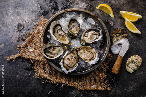 Open shucked fresh Oysters with lemon on ice on dark background