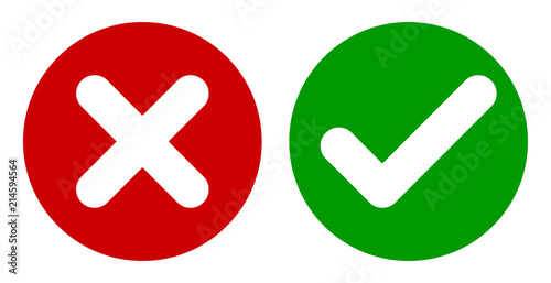 Fotografie, Obraz  Cross & Check Mark Icons, Flat Round Buttons Set. Vector EPS 10