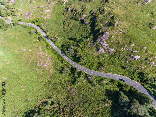 Foto op Plexiglas Groene Aerial view of Winding road through the scenic Ring of kerry landscape in the Republic of Ireland