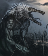 Were-crocodile Creature In A Swamp Hunting For Dinner - Digital Fantasy Painting