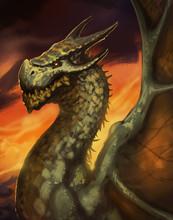 Large Green Dragon Posing In Front Of A Beautiful Orange Sunset - Digital Fantasy Painting