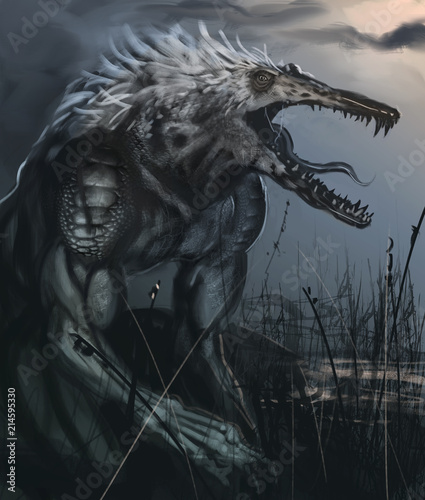 Photo  Were-crocodile creature in a swamp hunting for dinner - Digital fantasy painting