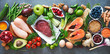 Leinwanddruck Bild - Balanced diet food background