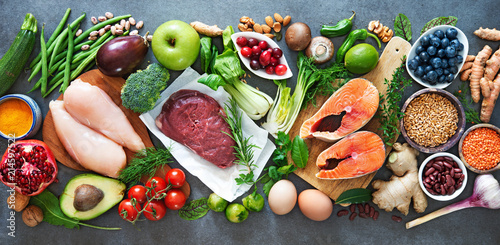 Balanced diet food background