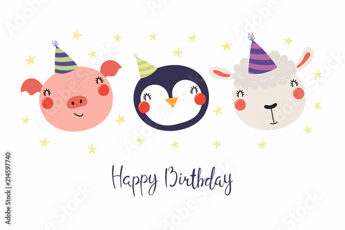 Hand Drawn Birthday Card With Cute Funny Pig Penguin Sheep In Party Hats Stars Quote Happy Isolated Objects Scandinavian Style Flat Design