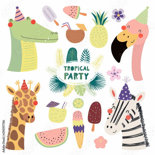 Recess Fitting Illustrations Hand drawn vector illustration of a cute funny crocodile, flamingo, giraffe, zebra in party hats, with fruit, ice cream, cocktails, quote. Isolated objects. Scandinavian style flat design. Invitation.