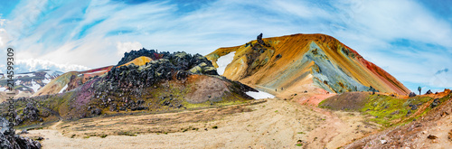 Fototapeta Beautiful colorful volcanic mountains Landmannalaugar in Iceland obraz