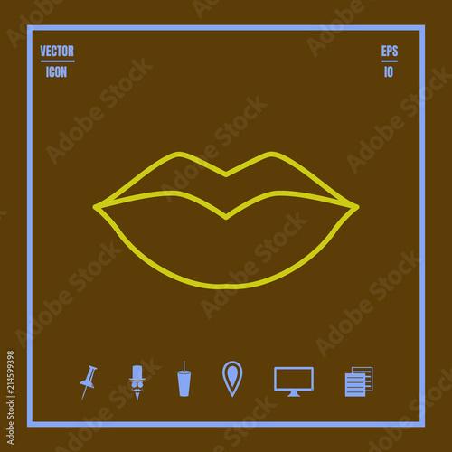 Fotografía  lips line vector icon