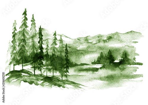 Fotobehang Wit Watercolor forest landscape, green Background for your design. With vintage drawings snow tops, mountains, pine forest, pine, fir, cedar, fir. Forest, wilderness, suburban landscape.Art illustration.