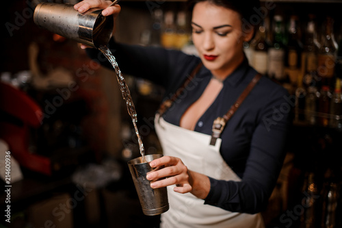 Fotografia  Girl transfusing drink from one steel cocktail shakers to another