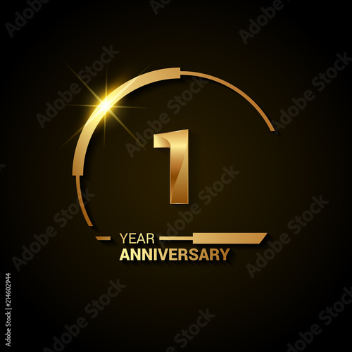 1 Years Anniversary Celebration Logotype. Golden Elegant Vector Illustration with Half Circle, Isolated on Black Background can be use for Celebration, Invitation, and Greeting card Fototapete
