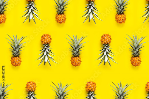 Fresh Pineapple In the yellow background Pineapple pattern