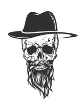 Skull With Hat Beard And Musta...