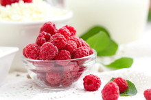 Fresh Raspberry In A Bowl And Dairy Product For Breakfast