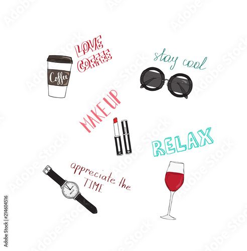 vector design for women tshirt slogans and icons