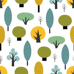 Panel Szklany Do gabinetu lekarskiego/szpitala Scandinavian style trees seamless pattern on white background. Cute forest vector illustration. Design for textile, wallpaper, fabric.