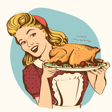Retro Smiling Housewife Cooks Roasted Turkey In The Kitchen.Vector Color Image