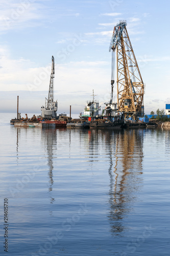 Photo Floating cranes loaded goods on the water