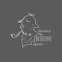 Sherlock. Detective Agency. Cut Out Silhouette With Text. Design Of A Poster, Emblems, A Signboard Of A Private Detective Firm.