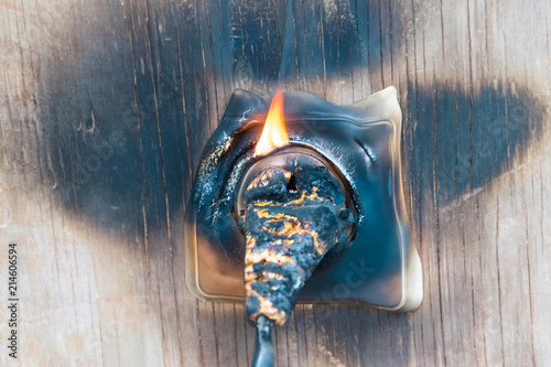 fire, wire in fire and smoke Tablou Canvas