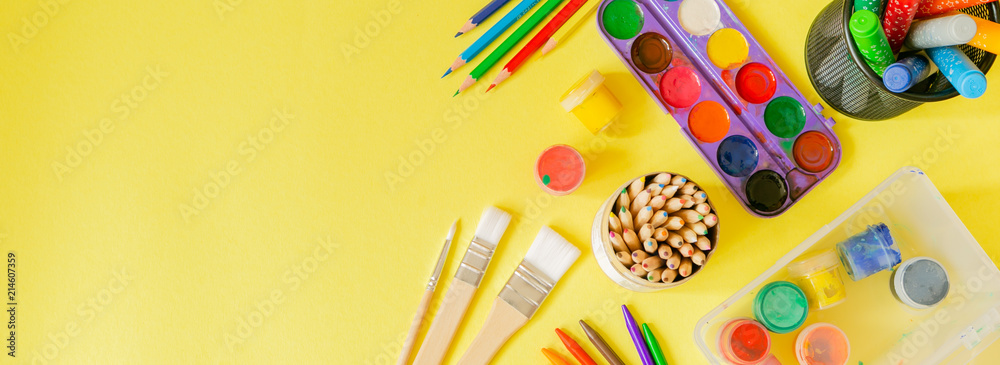 Fototapety, obrazy: Day care concept - art supplies and toys on bright background