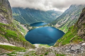 FototapetaCzarny Staw pod Rysami (Black Lake below Mount Rysy) and Morskie Oko lakes in Tatra Mountains, Poland
