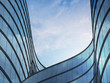 canvas print picture - Perspective of high rise building and dark steel window system with clouds reflected on the glass.Business concept of future architecture,lookup to the angle of the building corner. 3d rendering