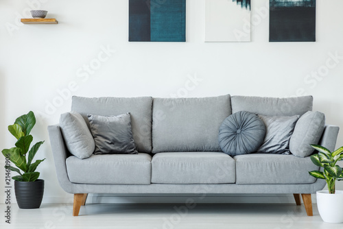 Tremendous Comfy Grey Sofa Decorated With Pillows Between Plants On A Uwap Interior Chair Design Uwaporg