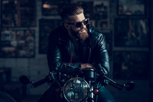Young Biker In Sunglasses On M...