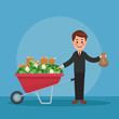 Businessman with money inside wheelbarrow vector illustration graphic design