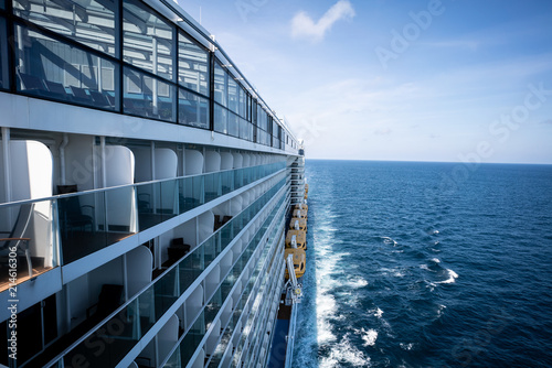 View of balcony side of cruise ship.
