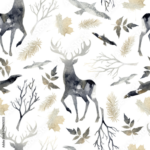 Tapety do jadalni  northern-forest-seamless-pattern-with-deer-birds-leaf-elements-watercolor-hand-drawn