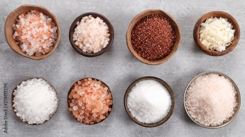 Different varieties of table salt.
