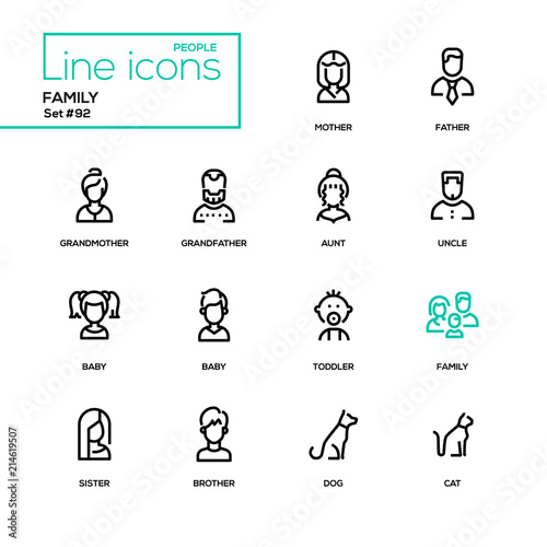 Photo  Family - modern line design icons set